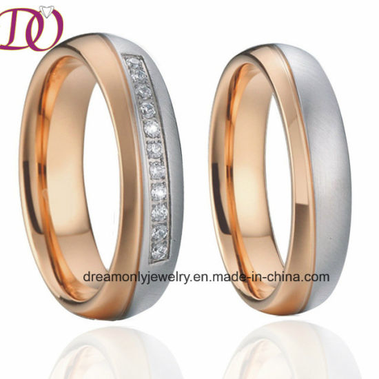 Bicolor Rose Gold and White Color Stainless Steel Wedding Band Couple Rings Pair pictures & photos