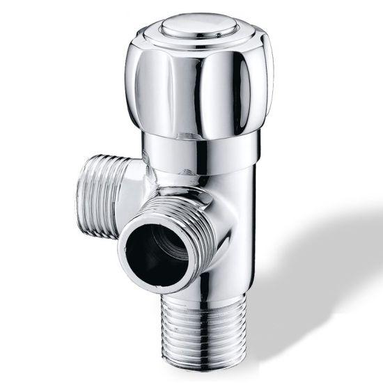 Luolin Bathroom 3 Way Angle Valve Hose Connector Double Control Splitter Corner Valve Water Shut, Chrome 25-5