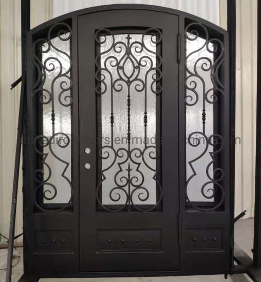 Elegant Design Wrought Iron Single Door with Side Lights