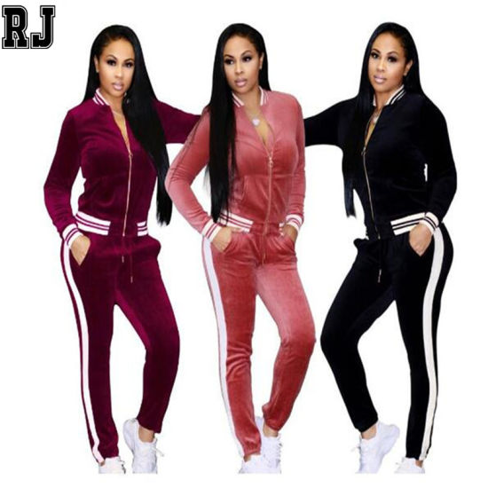 Wholesale New Design Women's Sexy Two Pieces Clothing Long Sleeved Sportswear Velour Tracksuit Custom Cotton Women Velour Tracksuit