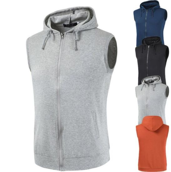 Sleeveless Zipper Sports Cotton Fleece Sleeveless Bank Men′s Hoodie Sweater pictures & photos