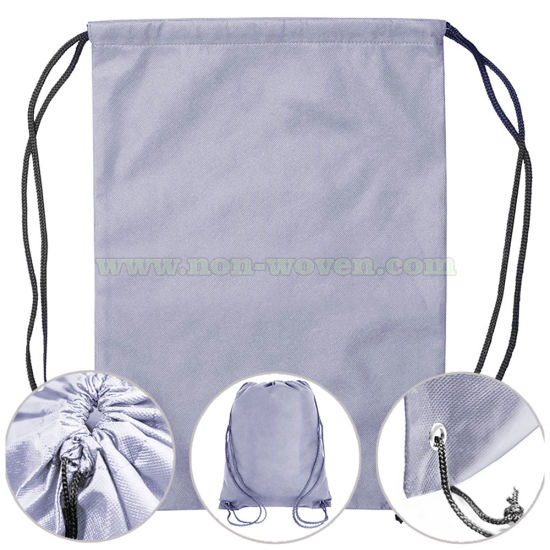 Biodegradable Non Woven Drawstring Bag 31# Light Purple