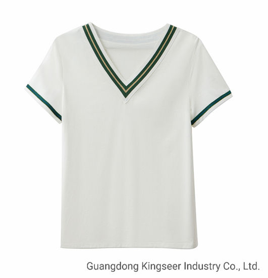 Promotional Women/Ladies Fashion Soft/Comfortable Outdoor Wear/Clothing/Clothes/Apparel Sportwear Printing/Embroidered T-Shirt