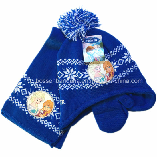 86c1f783 China Factory OEM Produce Custom Cartoon Print Embroidery Blue Kids Knitted  Beanie Scarf Gloves Set