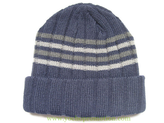 100% Acrylic Double Layer Cuff Strip Winter Beanie Knitted Cap Knitted Hat 05c22722d2d1