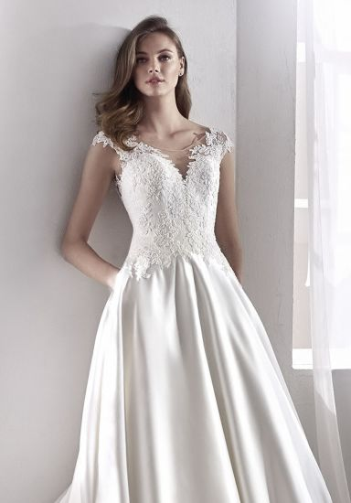 White Satin Bridal Gowns Lace Cap Sleeves Wedding Dress 2018