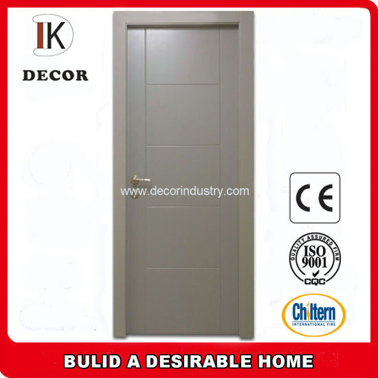 Grey Color Engineered Wood Flush Interior Door With Groove