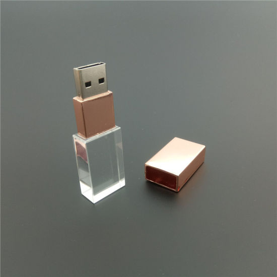 Hot Sale Transparent Glass USB 2.0 Custom Logo LED Light Crystal USB Flash Drive Pen Drive 4GB 8GB 16GB 32GB pictures & photos