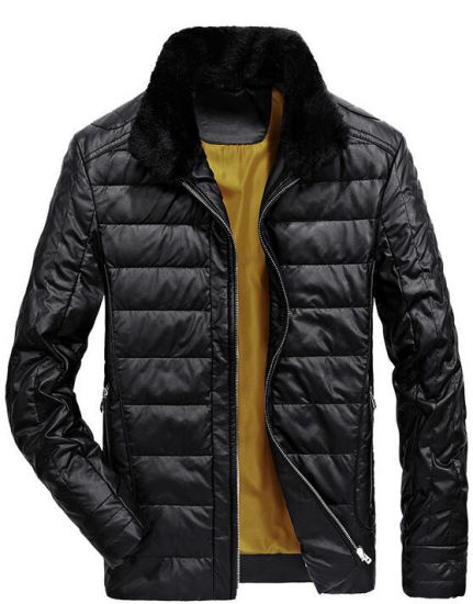 2017 Hot Sale Winter PU Leather Down Jacket for Men