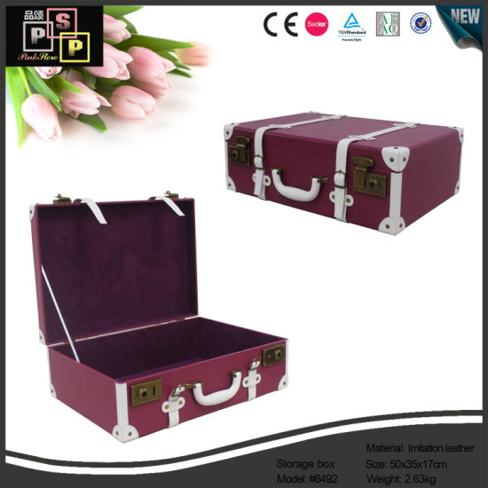 Decorative Leather Wooden Travel Storage Suitcase Box (6492)