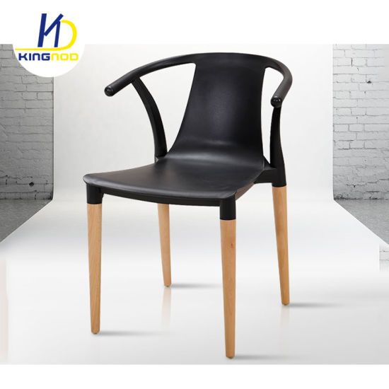 Replica Wishbone Modern Horn Colorful Stacking PP Plastic Dining Chair With  Wood Leg