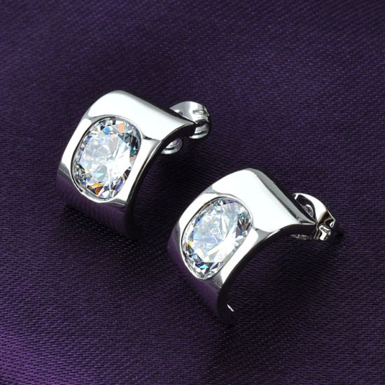Hot Selling Costume Jewelry Retangle Design White Gold Crystal Jewelry Set pictures & photos