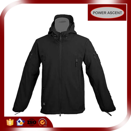 Men Classical Black Colour Winter Hooded Softshell Jacket