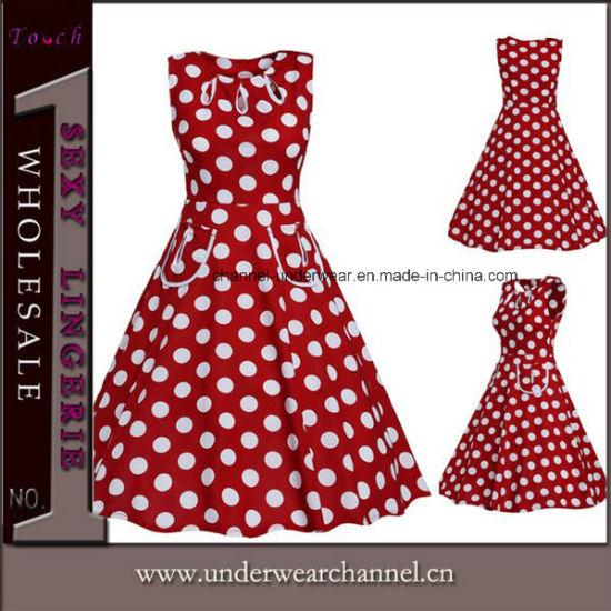 Real Shooting Women Formal Sleeveless Vintage Dress (TDN1505)