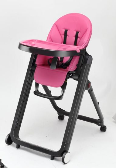 Metal Frame Baby Portable High Chair P2 With Moving Wheels