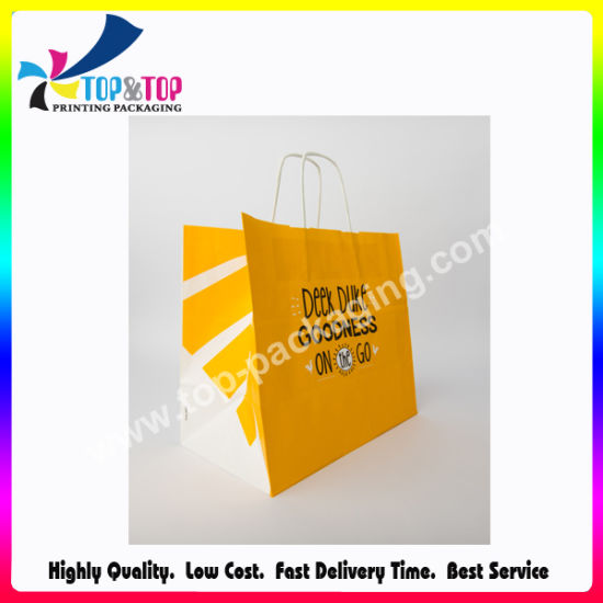 Cmyk Printing Folding Kraft Paper Packaging Bag with Paper Handle pictures & photos