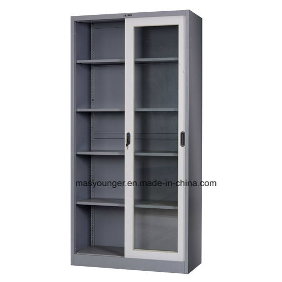 Durable Sliding Glass Door Steel Office File Cabinet Transparent Bookcase Metal  Frame Cupboard
