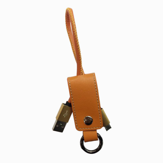 2016 New Products Gifts Genuine Leather Keychain USB Charger Cable pictures & photos