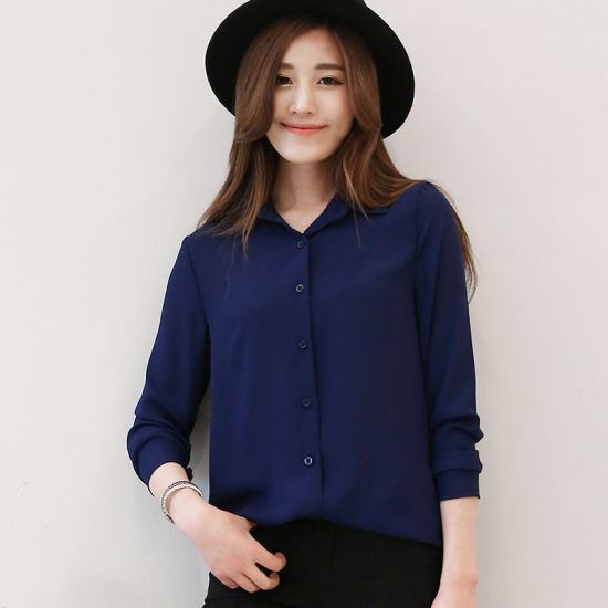 20c816fbedd8eb Hot Sale Women Shirts Long Sleeve Blouses Ladies Chiffon Blouse Tops The  Office Ol Style Shirt. Get Latest Price