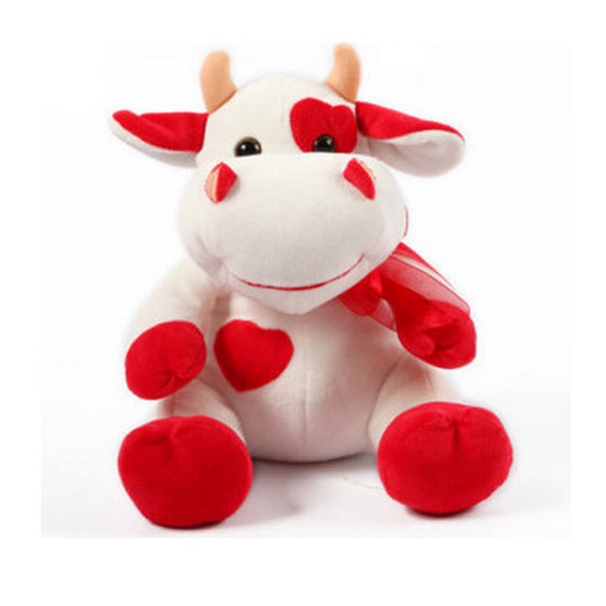 China Stuffed Soft Cow Toy Pattern Red Cow Stuffed Toy For Valentine