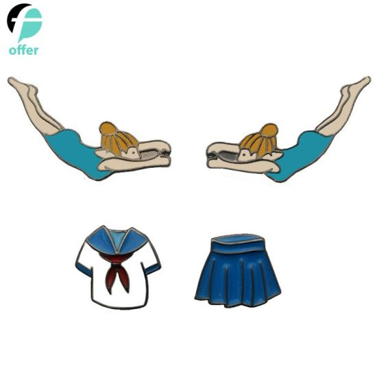 Love Swimming School Uniform Skirt for Girl Drip Pin Badge
