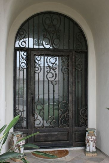 single front doors. Uid-S027 Wrought Iron Arch Single Front Door With Side Light For House Doors