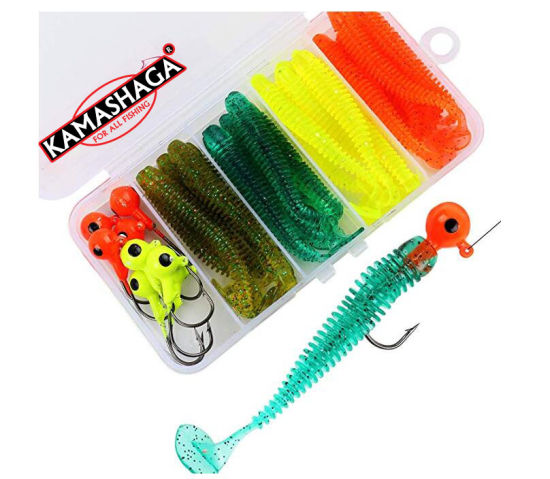 China Fishing Lures Kit Jig Head Set Includes Brass Sinker