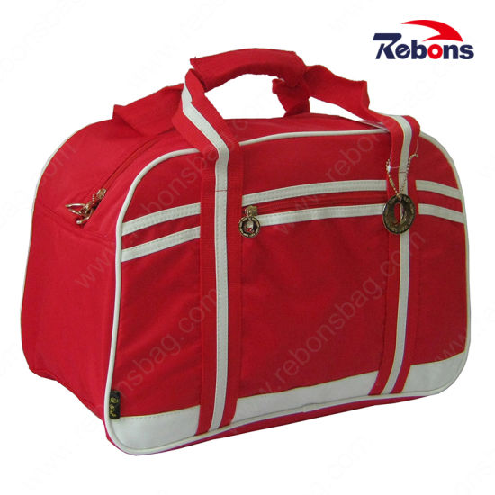 48bd9f0aed6 Customized Logo Striped Travel Time Bag Polo Travel Bag Compartments