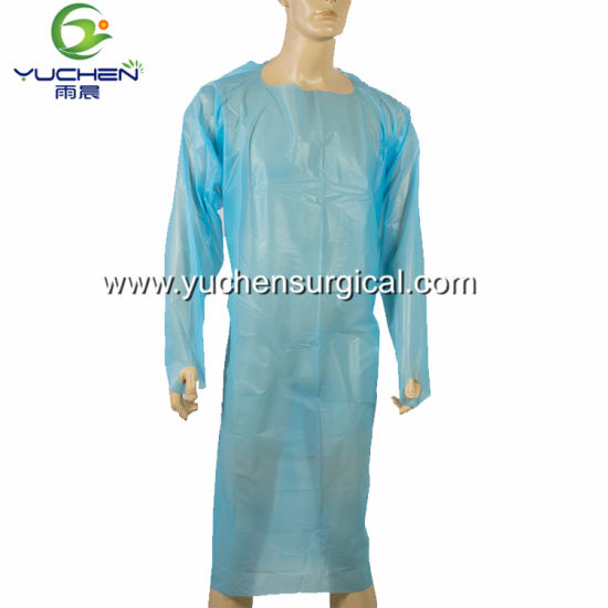 Disposable CPE Gown CPE Film Isolation Gown Surgical Gown Medical Clothing