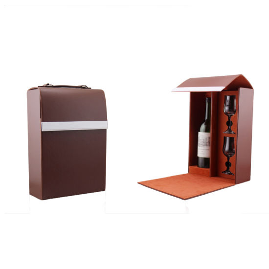 Single Bottle Promotional Gift Wine Box With Glasses 5272r4