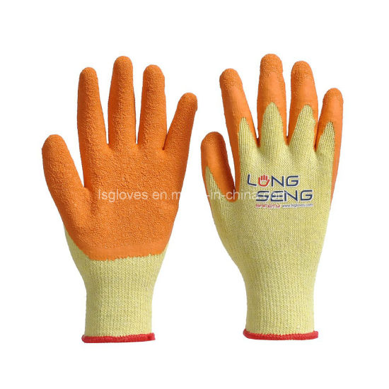 Wholesale 10 Gauge 5 Yarn 21 S Cotton Polycotton Liner Crinkle Wrinkle Latex Coated Hand Safety Protection Work Gloves with En388 61161000 Black Blk Red Orange