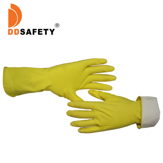 Custom Yellow Reusable Rubber Latex Household Kitchen Waterproof Dishwashing Gloves Manufacturers Printed Logo Price Cemanufacturers Printed Logo Price Ce 2121X