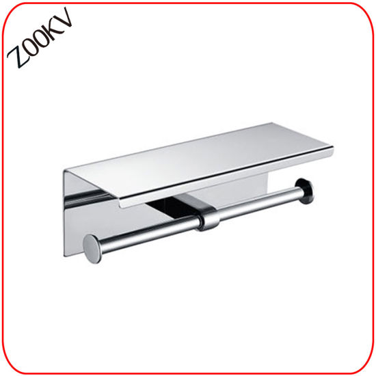 304 Stainless Steel Wall Mounted Washroom Restroom Bath Toilet Hotel Bathroom Kitchen Paper Towel Box with Rack Cover Shelf Dispenser Two Tissue Roll Holder