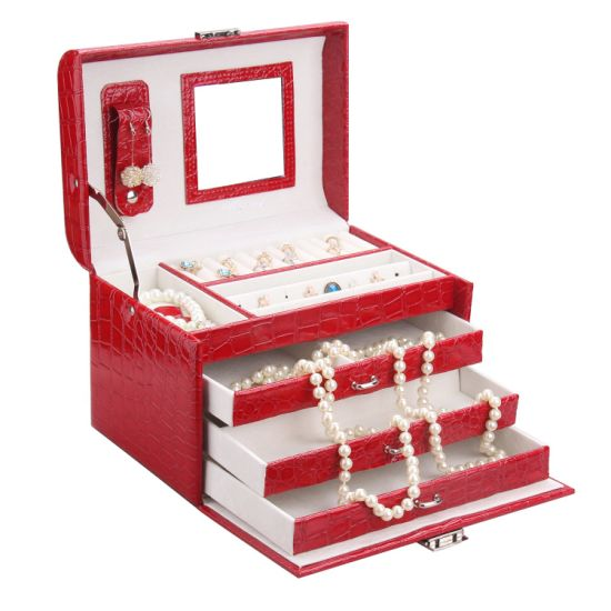 High Quality Wholesale Small Travel Portable Jewelry Bag Earring Jewelry Box with Mirror/High Quality Popular PU Jewelry Display Ring Boxes pictures & photos