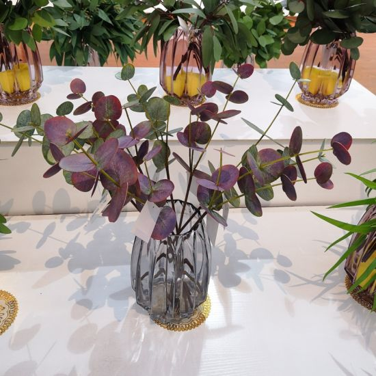 Eucalyptus Leaves Stem Artificial Plants Real Touch Grass Plastic Flower