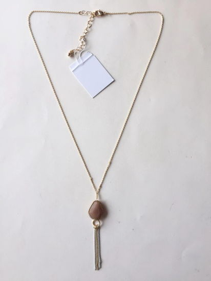 Fashion Necklace Chain Gold with Rhinestone Pendant 27~30+6cm