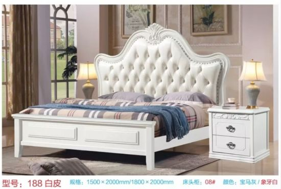 King Size White Leather Carved Wood Antique Bed Leather Bed