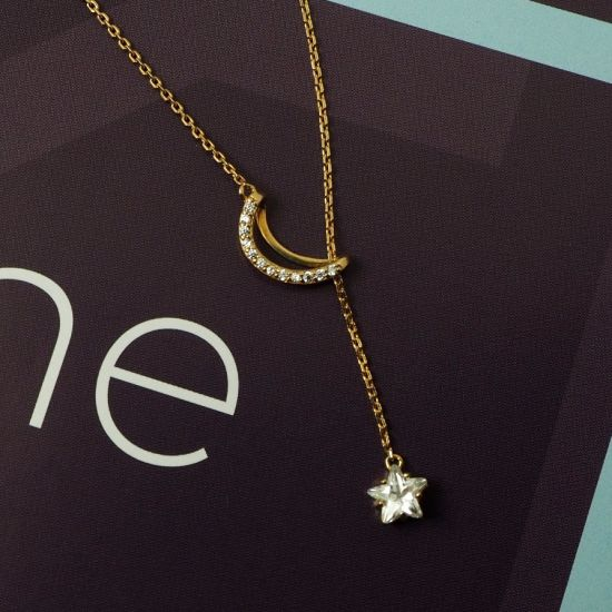 Gold Plated Jewelry Imitation Jewelry fashion Jewelry Moon Star Necklace for Women