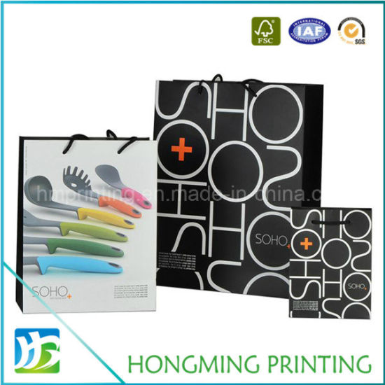 Wholesale White Custom Printed Black Packaging Luxury Gift Tote Carrier Paper Bag with Logo Print for Shopping