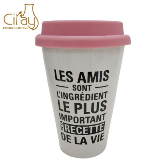 Ceramic Coffee Mug with Silicone Lid & Customized Logo