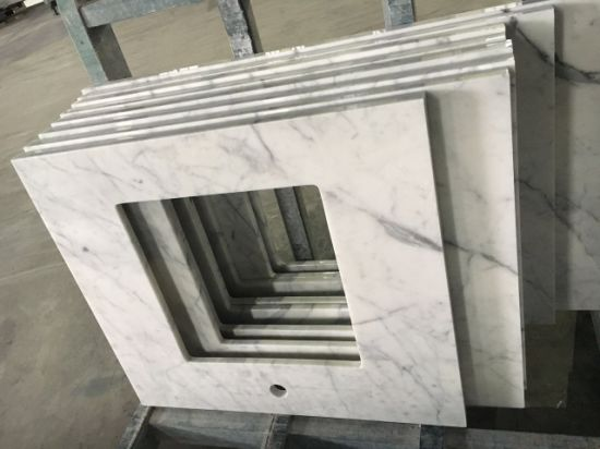 Bianco Carrara Marble Bathroom Vanity Top White Marble Countertops pictures & photos