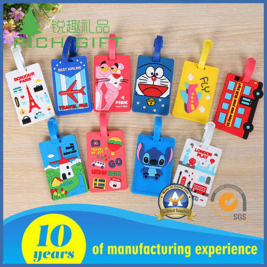 Wholesale Fashion Plastic/Leather/Nylon/Blank Soft PVC Rubber Luggage Tag with Custom Logo for Travel Souvenir pictures & photos