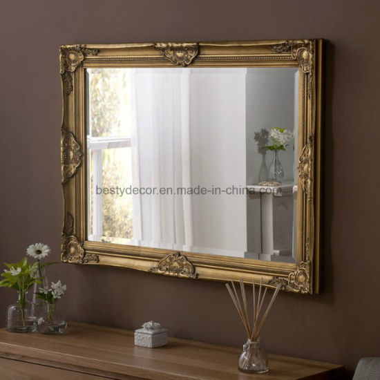 China Standing Gold Frame Wood Wall Mirror Clasic China Mirror Wall Mirrors