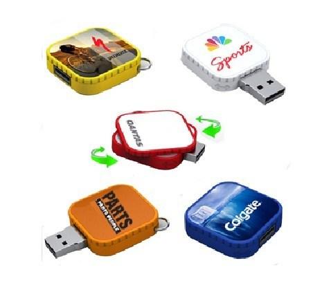 Custom Logo Printed Square Shape Slide Plastic USB Driver