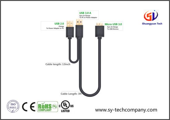 Micro USB 3.0 Y Cable Super Speed USB 3.0 a Male to Micro B Male pictures & photos