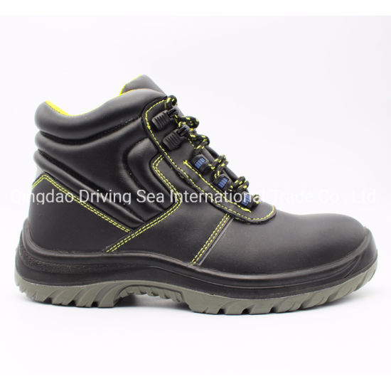 Genuine Cow Leather PU Outsole Industrial Safety Shoes with Steel Toe