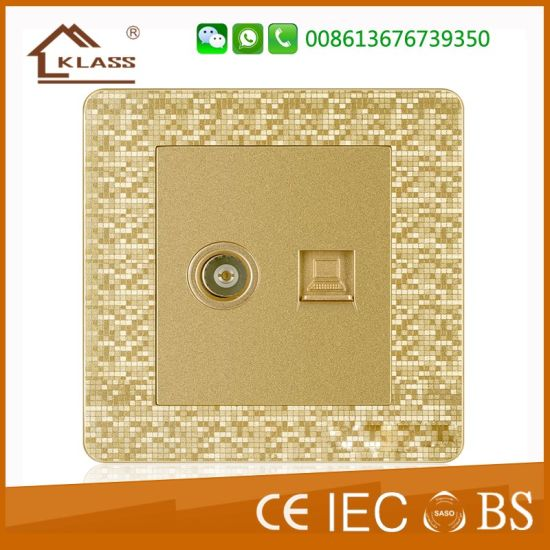 Wall Switch TV +Tel Socket with Ce, Saso, IEC Certificate