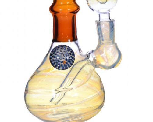 "The Amber Swirl - 8"" Tube with Silver Fumed Glass and Ice Catcher pictures & photos"