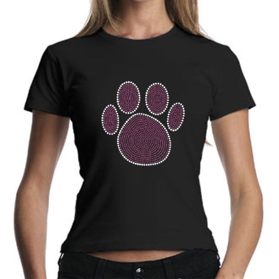 China Paw Print Rhinestone T-Shirts Transfer for Women