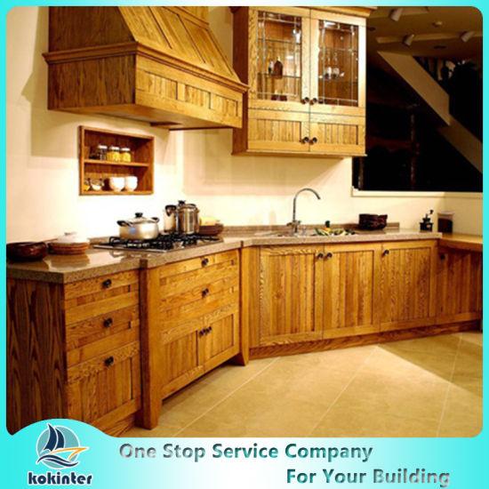 New Design China Soild Wood Kitchen Cabinet Seven Modern